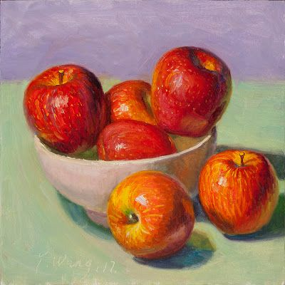 Red apples still life oil painting