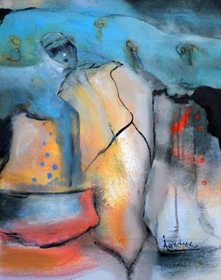 "Contemporary Abstract Expressionist Painting, Abstract Figure ""Heaven's Gate Free Pass"" by International Contemporary Artist Arrachme"