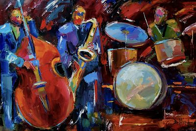 """Abstract Jazz Art , Music Art Paintings, Instruments,Drums,""""Half the Band"""" by Texas Artist Debra Hurd"""