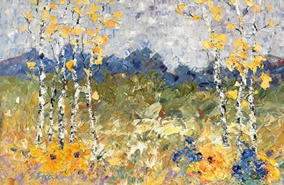 "Palette Knife Impressionist Aspe Tree Landscape Flower Painting ""Aspen Splendor III"" by Colorado Impressionist Judith Babcock"