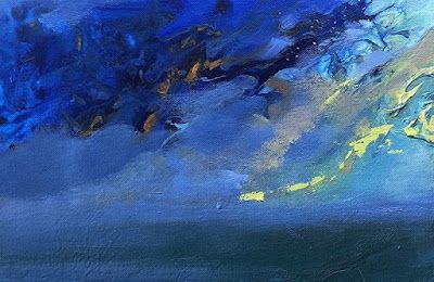 "Contemporary Seascape, Fluid Abstract Painting ""Ocean Madness"" by Colorado Artist Susan Fowler"