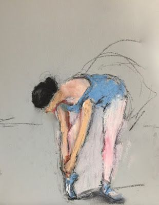 Fixing Her Shoe - figurative drawing of a ballerina/ballet dancer