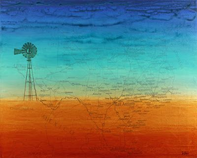 "Contemporary Fine Art Map Print, ""TEXAS TWILIGHT-WINDMILL"" by Contemporary Artist Brian Billow"