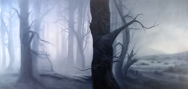 """Scarred, Scared, Sacred"" 36x72, Oil on Canvas by Dawn Waters Baker"