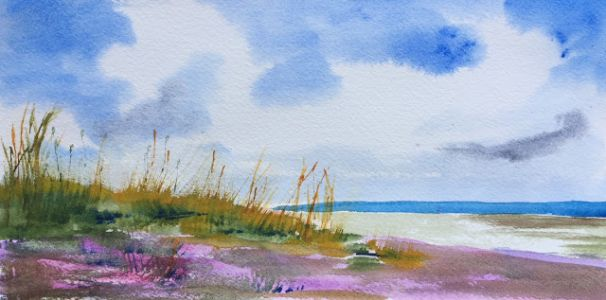 "Contemporary Watercolor Beach Scene, ""Late Afternoon,"" by Amy Whitehouse"