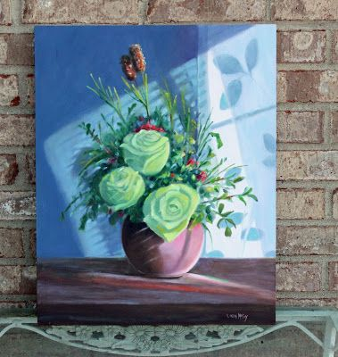 Green Roses Still Life Oil Painting