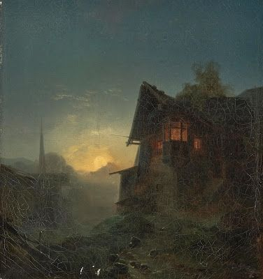 Bernhard Stange, Mountain Village in the Moonlight