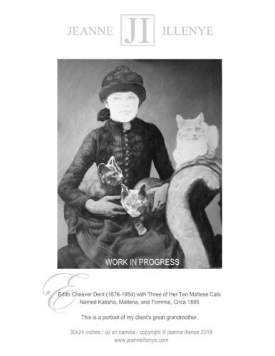 Custom oil portrait of child Edith Cheever Dent with her 3 Maltese cats work in progress