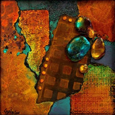 "Mixed media abstract painting, ""Texture Sampler 2"" by Colorado Mixed Media Artist Carol Nelson"
