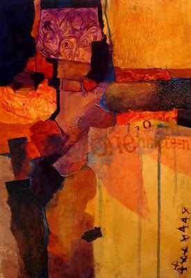 "Mixed Media Contemporary Collage""One Nineteen, 12072, "" by Colorado Mixed Media Abstract Artist Carol Nelson"