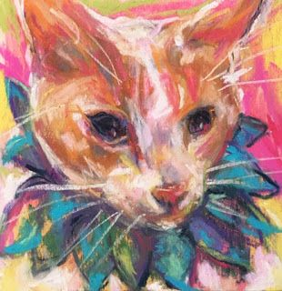 CLOWN KITTY - pastel on wood by Susan Roden