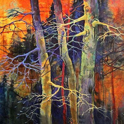 "Colorful Contemporary Landscape, Small Aspen Tree Art ""Twilight Dance-Mini"" by Colorado Mixed Media Abstract Artist Carol Nelson"