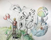Drawing Imaginary Three-Dimensional Worlds- High School Foundations of Art