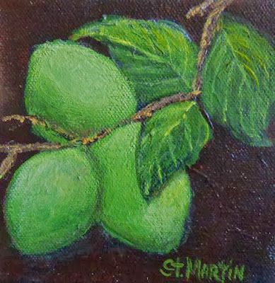 "Still Life Painting, Fruit, ""Corona and Lime"" by Florida Impressionism Artist Annie St Martin"