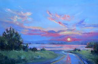 Road to the Lake, New Contemporary Landscape Painting by Sheri Jones