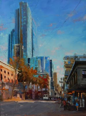 """Sky High"" Seattle city , oil painting by Robin Weiss"