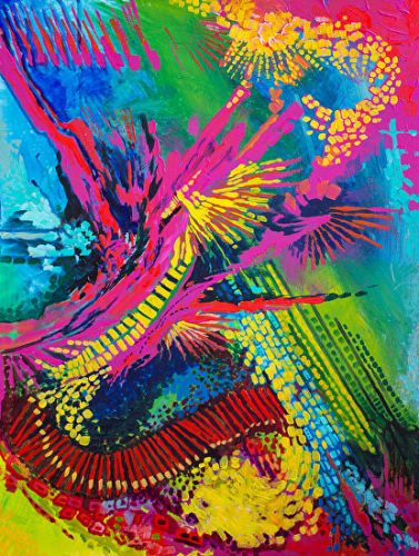 "Colorful Contemporary Abstract Art Painting ""Magenta Splash"" by Colorado Artist Nancee Jean Busse, Painter of the American West"