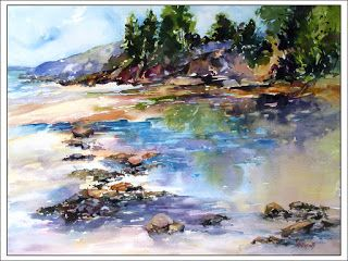 Lowtide, Bayview..Watercolor..Texas Artist..Rae Andrews