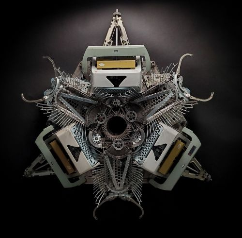 Symmetrical Typewriter Sculptures by Artist Jeremy Mayer Merge the Organic and Manufactured
