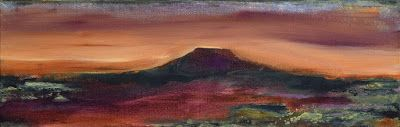 "Contemporary Landscape Painting ""Pedernal Sunset"", Santa Fe Contemporary Artist, Sandra Duran Wilson"