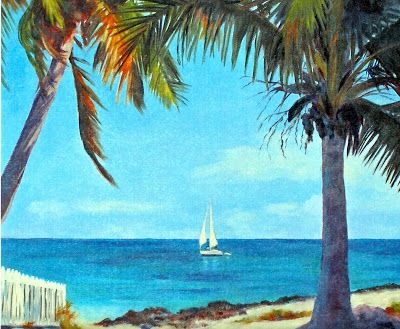 Elbow Cay, 11x11 Watercolor Print, Sailboat in Seascape