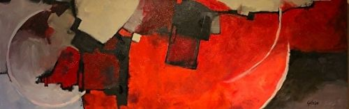 "Contemporary Acrylic Abstract Art Painting , ""Color Study Red"" by Colorado Mixed Media Abstract Artist Carol Nelson"