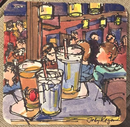 """Day 552 """"At the Grille"""" coaster art, ink & watercolor"""
