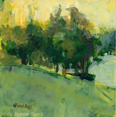 "Small Paintings, Colorful Contemporary Landscape Painting, Trees, Abstract Landscape, Tree, Daily Painter, ""After The Fog Clears"" by Passionate Purposeful Painter Holly Hunter Berry"