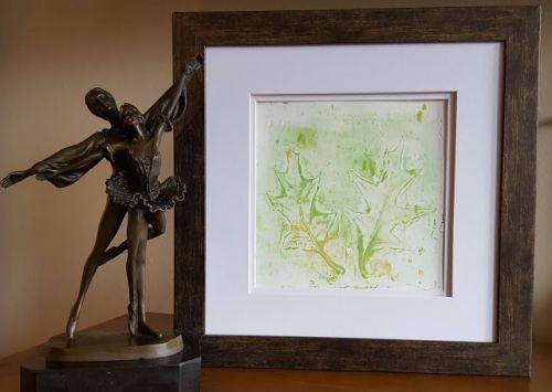 Green Leaves Hand Print Acrylics by Denise Bossarte