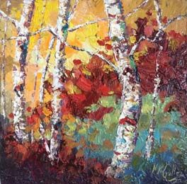 """Fall Textures"" Palette Knife Oil Painting by Texas Artist Niki Gulley"