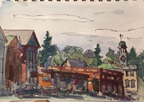 "Day 509 ""Main Street"" ink & watercolor"