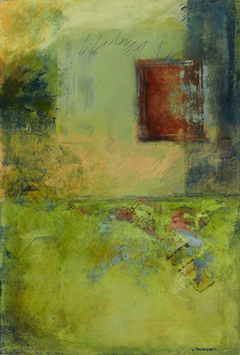 "Green Art, Contemporary Art, Abstract Painting, Expressionism, Mixed Media, ""SUNBAKED"" by Contemporary Artist Liz Thoresen"