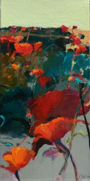"Contemporary Botanical Floral Landscape Painting ""Poppy Field"" by Intuitive Artist Joan Fullerton"