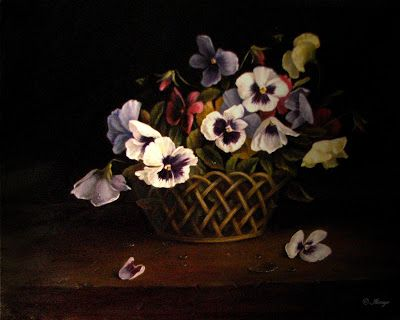 Pansies in basket classical oil painting floral