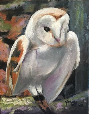 Norma Wilson Original Oil Owl Bird Avian Wildlife Painting Art