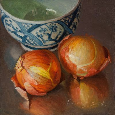 Onions original oil painting still life daily painting a day