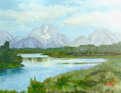 Grand Tetons, 10x8 Oil Painting on Canvas, Western Landscape