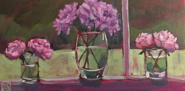Molly's Flowers, 6x12, Acrylic by Kelley Carey MacDonald