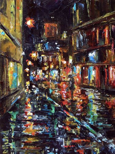 "Cityscape Painting, Rainy City, Abstract Figurative,Woman,""Twilight Rain"" by Texas Artist Debra Hurd"