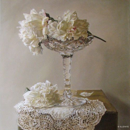 """""""Shades of White"""" 24x24 in. oil on canvas peonies, lace, crystal pedestal candy dish, cardboard box still life oil painting"""
