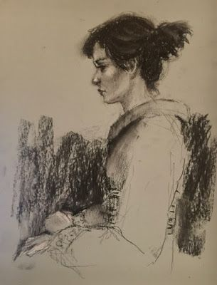 Profile in Charcoal - original charcoal drawing of woman in kimono