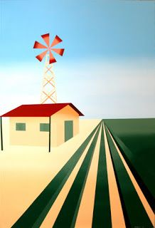 Mark Webster - Abstract Cubist Windmill Painting