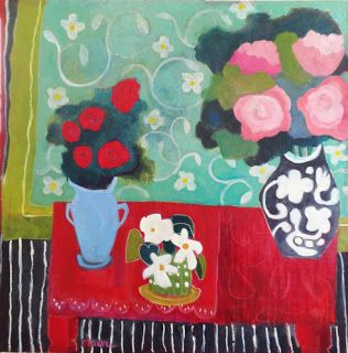 "Bold Expressive Still Life Flower Art Painting ""Red Table With Flowers"" by Santa Fe Artist Annie O'Brien Gonzales"