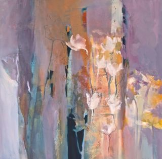 "Abstract Mixed Media Botanical Landscape Painting ""Glimpses of Spring"" by Intuitive Artist Joan Fullerton"