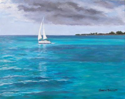 Storm Over Hopetown, 16x20 Oil on Canvas, Bahamas Seascape