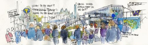 Sketching the Light Rail Stations on Opening Day