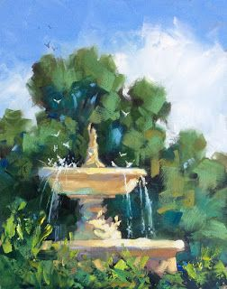 FOUNTAIN, BIRDS, TREES by TOM BROWN