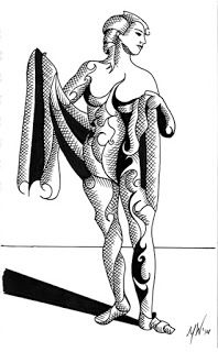 Mark Webster - Adhira 9-15 - Abstract Geometric Futurist Figurative Ink Drawing