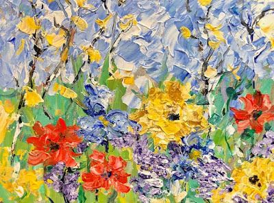 "Impressionist Floral Landscape Painting, Palette Knife Painting ""Just For You"" by Colorado Impressionist Judith Babcock"