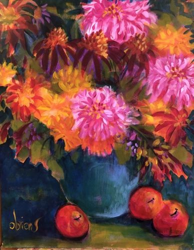"Contemporary Expressionist Still Life Art,Bold Expressive Painting ""California Dahlias"" by Santa Fe Artist Annie O'Brien Gonzales"